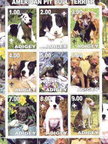 Adigey Republic 2000 Dogs (American Pit Bull Terrier) perf sheetlet containing complete set of 9 values, each with Scout logo unmounted mint