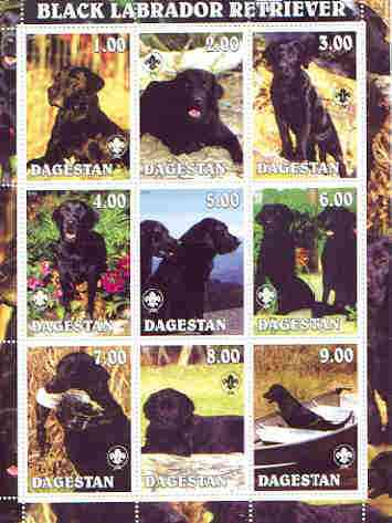 Dagestan Republic 2000 Dogs (Black labrador Retriever) perf sheetlet containing complete set of 9 values, each with Scout logo unmounted mint