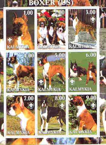 Kalmikia Republic 2000 Dogs (US Boxer) perf sheetlet containing complete set of 9 values, each with Scout logo unmounted mint