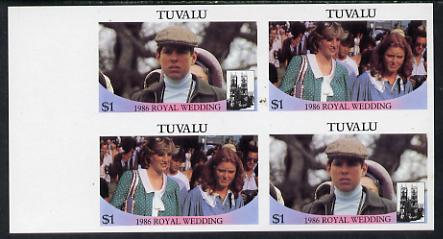 Tuvalu 1986 Royal Wedding (Andrew & Fergie) $1 in unmounted mint imperf proof block of 4 (2 se-tenant pairs) without staple holes in margin and therefore not from booklets