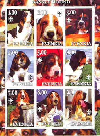 Evenkia Republic 2000 Dogs (Basset Hound) perf sheetlet containing complete set of 9 values, each with Scout logo unmounted mint