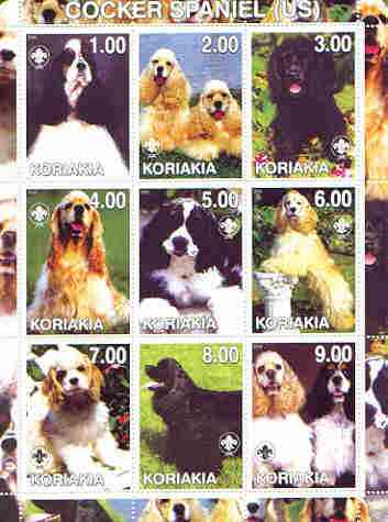 Koriakia Republic 2000 Dogs (Cocker Spaniel) perf sheetlet containing complete set of 9 values, each with Scout logo unmounted mint, stamps on dogs, stamps on scouts, stamps on cocker spaniel