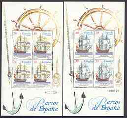 Spain 1996 Ship paintings set of 2 m/sheets each containing blocks of 4, unmounted mint SG MS 3321