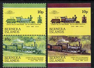 Bernera 1983 Locomotives #2 (Lehigh Valley Railroad) 10p se-tenant pair with red omitted plus imperf pair as normal unmounted mint