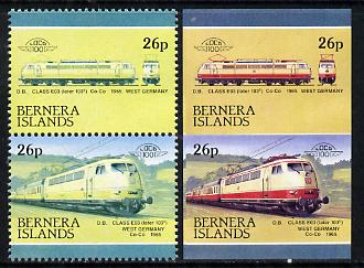 Bernera 1983 Locomotives #2 (DB Class EO3) 26p se-tenant pair with red omitted plus imperf pair as normal unmounted mint