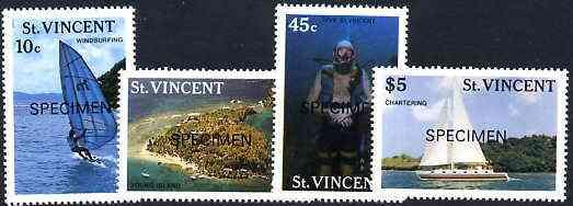 St Vincent 1988 Tourism set of 4 opt'd SPECIMEN unmounted mint, as SG 1133-36