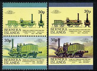 Bernera 1983 Locomotives #2 (Dublin & Kingstown Railway) 30p se-tenant pair with red omitted plus imperf pair as normal unmounted mint