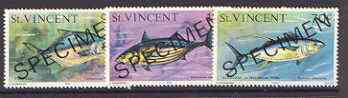 St Vincent 1975-76 Fish the 3 values issued in 1976 (15c, 70c & 90c) opt'd SPECIMEN unmounted mint, as SG 431 & 438-9