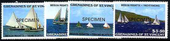 St Vincent - Grenadines 1988 Bequia Regatta set of 4 opt'd SPECIMEN unmounted mint, as SG 554-57