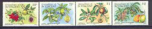 St Vincent - Grenadines 1985 Fruits & Blossoms set of 4 opt'd SPECIMEN unmounted mint, as SG 398-401