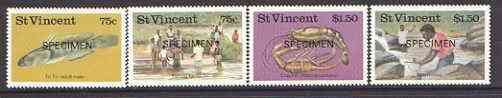 St Vincent 1986 Freshwater Fishing set of 4 opt'd SPECIMEN unmounted mint, as SG 1045-48