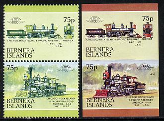 Bernera 1983 Locomotives #2 (Chicago, Rock Island & Pacific Railroad) 75p se-tenant pair with red omitted plus imperf pair as normal unmounted mint