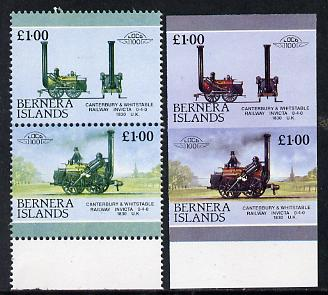 Bernera 1983 Locomotives #2 (Canterbury & Whitstable Rly) \A31 se-tenant pair with red omitted plus imperf pair as normal unmounted mint