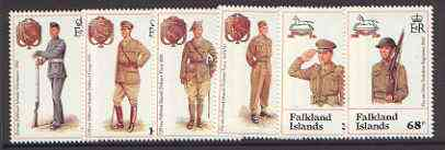 Falkland Islands 1992 Defence Force & West Yorks Regiment set of 6 unmounted mint, SG 665-70*