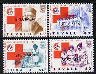 Tuvalu 1988 Red Cross set of 4 overprinted SPECIMEN (as SG 518-21) unmounted mint*