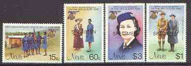 Nevis 1985 Girl Guides set of 4 opt'd SPECIMEN, as SG 293-6* unmounted mint