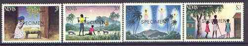 Nevis 1983 Christmas set of 4 opt'd SPECIMEN unmounted mint, as SG 127-30*, stamps on christmas, stamps on angels, stamps on bethlehem