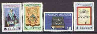 St Kitts 1985 Masonic Lodge set of 4 opt'd SPECIMEN, as SG 177-80 unmounted mint*
