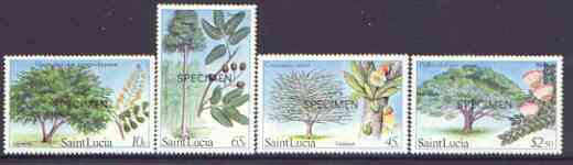 St Lucia 1984 Forestry Resources set of 4 opt'd SPECIMEN, as SG 699-702 unmounted mint*