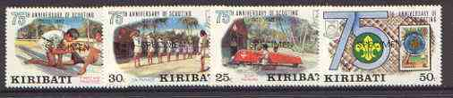Kiribati 1982 75th Anniversary of Scouting set of 4 vals, opt'd SPECIMEN, as SG 189-92 unmounted mint*