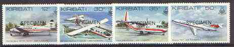 Kiribati 1982 Air Tungaru Airline set of 4 opt'd SPECIMEN, as SG 179-82 unmounted mint*