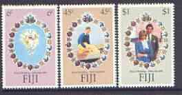 Fiji 1981 Royal Wedding set of 3 fine unmounted mint, SG 612-4