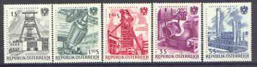 Austria 1961 15th Anniversary of Nationalised Industries set of 5, SG 1370-74
