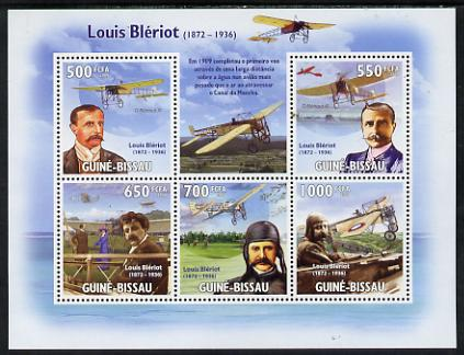 Guinea - Bissau 2009 Luis Bleriot & Aircraft perf sheetlet containing 5 values unmounted mint
