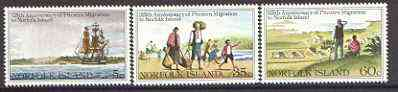 Norfolk Island 1981 125th Anniversary of Pitcairn Islanders' migration to Norfolk Islands set of 3 unmounted mint SG 258-60