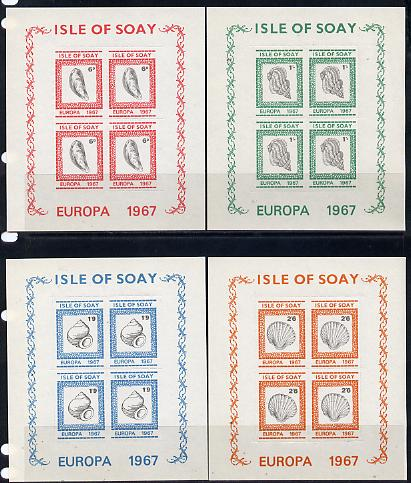 Isle of Soay 1967 Europa (Shells) set of 4 each in rouletted sheetlet of 4 unmounted mint