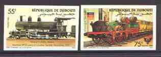 Djibouti 1985 locomotives set of two imperf from limited printing, unmounted mint as SG 951-952, stamps on railways