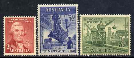 Australia 1947 150th Anniversary of City of Newcastle, NSW set of 3 unmounted mint SG 219-21*