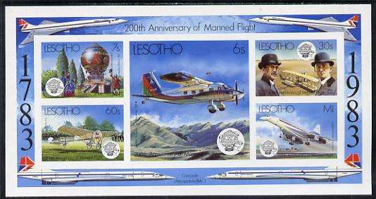 Lesotho 1983 Manned Flight Bicentenary imperf m/sheet unmounted mint (SG MS 549)