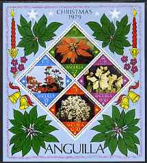 Anguilla 1979 Christmas Flowers m/sheet unmounted mint, SG MS 383, stamps on christmas, stamps on bells, stamps on , stamps on candles, stamps on flowers