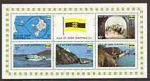 Guernsey-Sark 1969 Carriage Labels miniature sheet, fine unmounted mint (Rosen SS 4-8)