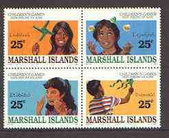 Marshall Islands 1990 Children's Games set of four in se-tenant block of 4 unmounted mint SG 309a
