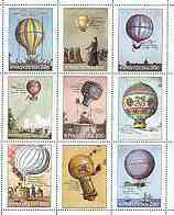 Kyrgyzstan 2000 Early Balloons perf sheetlet containing 9 values unmounted mint