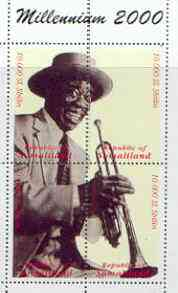 Somaliland 2000 Millennium 2000 Louis Armstrong composite perf sheetlet containing 4 values unmounted mint