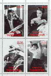 Tadjikistan 2000 Elvis Presley perf sheetlet containing set of 4 (black & white) unmounted mint