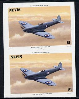 Nevis 1986 Spitfire $1 (Prototype K-5054) unmounted mint imperf pair (as SG 372)