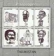Tadjikistan 2000 Philosophers perf sheetlet containing set of 6 values unmounted mint