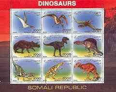 Somalia 2000 Dinosaurs #1 perf sheetlet containing set of 9 values unmounted mint