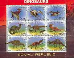 Somalia 2000 Dinosaurs #2 perf sheetlet containing set of 9 values unmounted mint