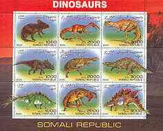 Somalia 2000 Dinosaurs #3 perf sheetlet containing set of 9 values unmounted mint
