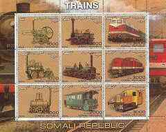 Somalia 2000 Early Trains perf sheetlet containing set of 9 values unmounted mint