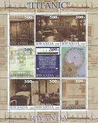 Rwanda 2000 Titanic perf sheetlet containing set of 9 values unmounted mint