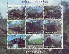 Tadjikistan 2000 Steam Trains perf sheetlet containing set of 9 values unmounted mint, stamps on , stamps on  stamps on railways