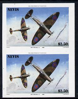 Nevis 1986 Spitfire $2.50 (Mark 1A in Battle of Britain) unmounted mint imperf pair (as SG 373)