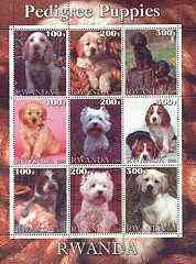 Rwanda 2000 Pedigree Puppies perf sheetlet containing set of 9 values unmounted mint
