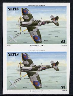 Nevis 1986 Spitfire $3 (Mark XII) unmounted mint imperf pair (as SG 374)